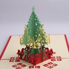 2pcs Xmas Card Gift 3D Stereo Greeting Christmas Tree Birthday Blessing Handmade New Year Business AB405