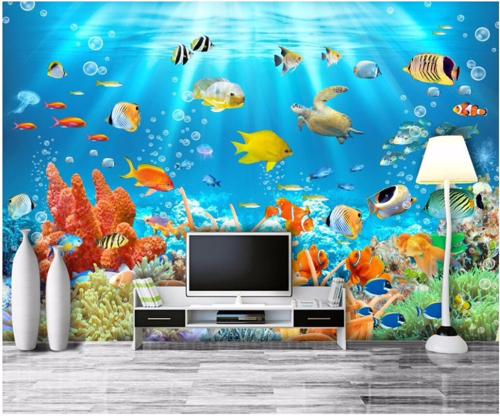 custom mural photo 3d wall paper marine aquarium fish coral room decor painting 3d wall murals. Black Bedroom Furniture Sets. Home Design Ideas