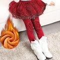 Polainas de la muchacha legging de la falda-pantalón falda de la torta falda de las muchachas de bebé del invierno polainas calientes de los niños con corte tipo bota para 2-12 niño