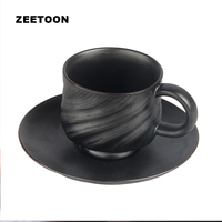 150ml American Style Retro Ceramics Coffee Mug Pottery Hand Made Spiral Pattern Gift Box Water Cup