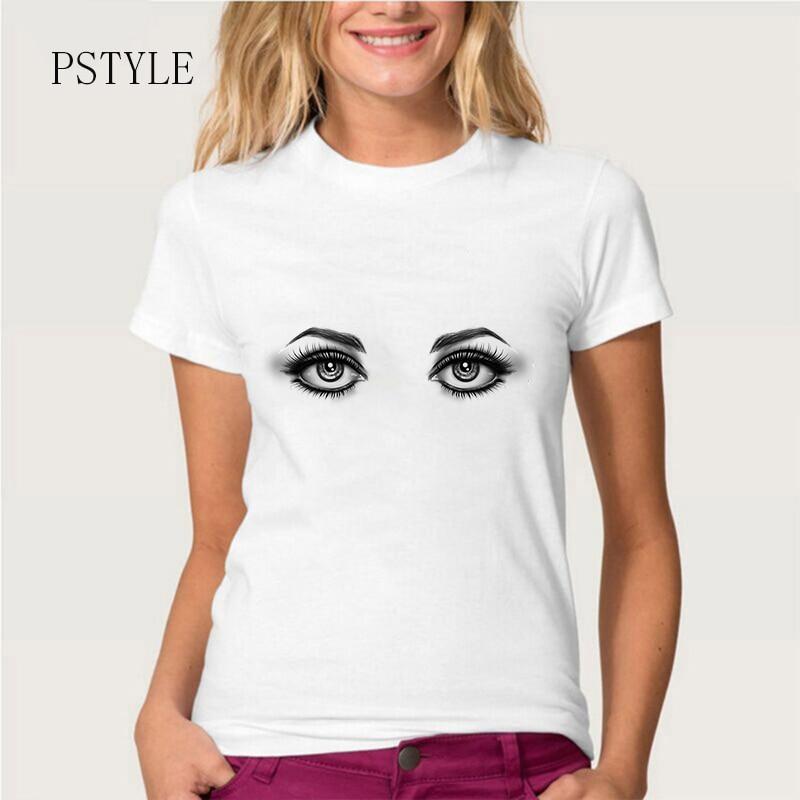 PSTYLE 2018 Summer Short Sleeve Women T Shirt Brand Beauty Eye Printed Tee Shirt Custom T-shirt O-neck Tee Tops