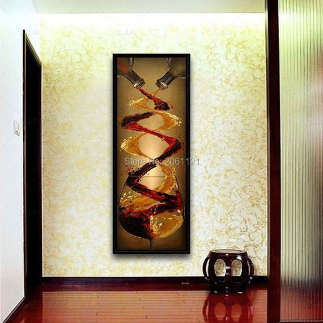 Abstract Canvas Oil Painting Hand Painted Long Vertical Version Wall Art  Wine Murals Villa Hotel Corridor Decoration Picture