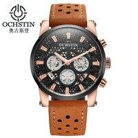 OCHSTIN Marca Homens Relógio Relogio masculino Reloj Hombre Homens De Couro Da Moda Relógio À Prova D' Água Relógio Do Esporte Militar Relógio Masculino Horas