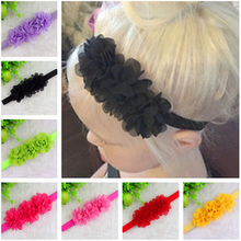 Knitting chiffon headband band infant girls elastic flower accessories lace baby