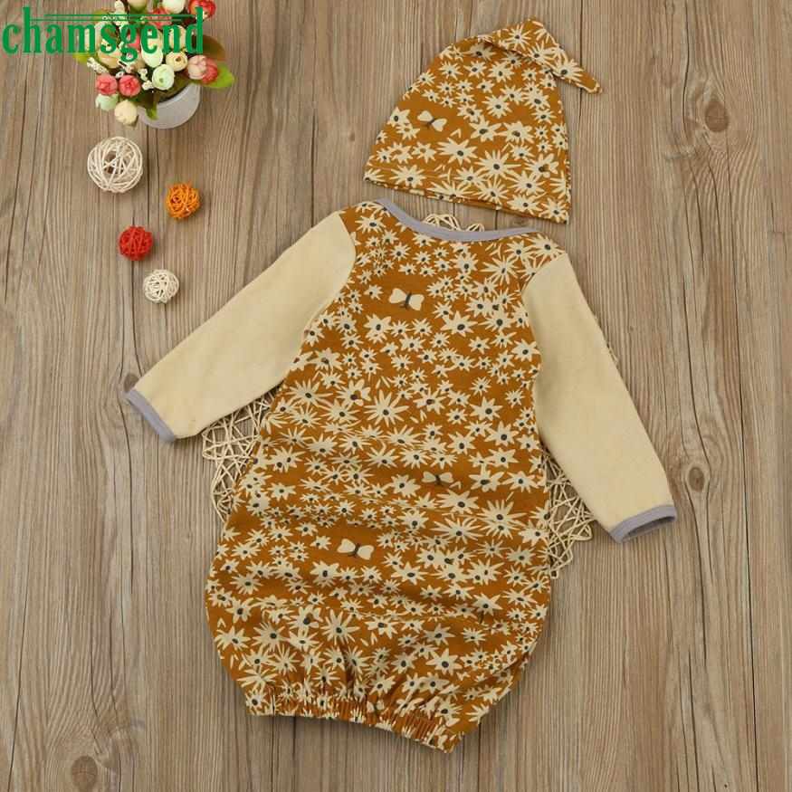 CHAMSGEND Yellow Newborn Infant Kids Baby Girl Floral Cotton full Pajamas Gown+Hat Outfits Clothes Set gift p30 baby clothes