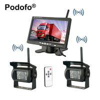 Wireless Dual Backup Cameras Parking Assistance Night Vision Waterproof Rearview Camera 7 Monitor Kit For RV