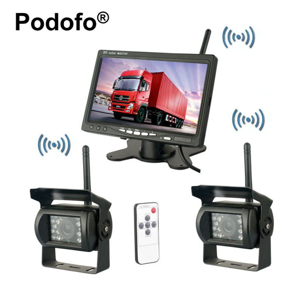 Podofo Wireless Dual Rear View Backup Reversing Cameras Waterproof IR Rearview Camera 7 Monitor Kit for RV Truck Trailer Bus