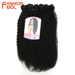 Image 3 - FASHION IDOL Afro Kinky Curly Synthetic Hair Extensions Bundles Ombre 6Pieces Heat Resistant Weave Hair Bundles For Black Women