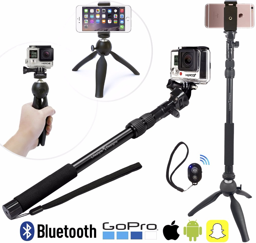 3 in 1 Aluminum Alloy Monopod Bluetooth Selfie Stick With Mini Tripod For Gopro DLSR Cameras Iphone 6 6s 7 Xiaomi Phones ...