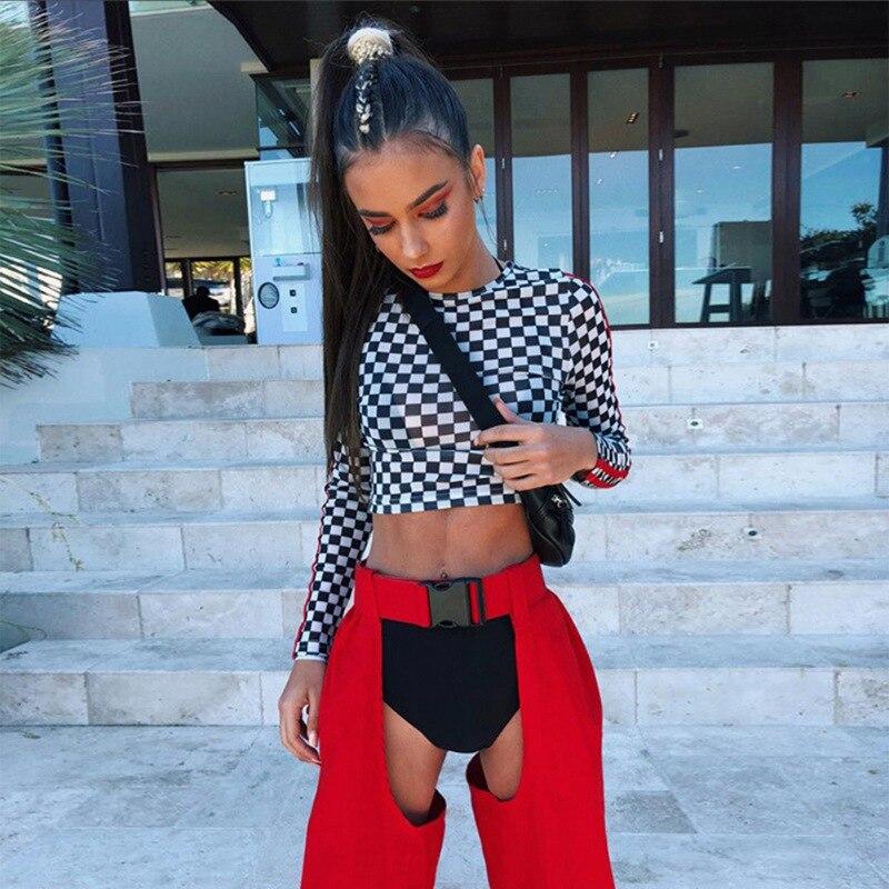 Women Sexy Red Hip Hop Pants Ladies Open Trousers Punk Buckle High Waist Jogging Sweatpants 2019