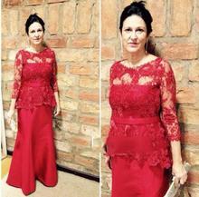 Neue Rote Spitze Langarm Abendkleid bodenlangen Abendkleid flügelärmeln Mutter der Braut Benutzerdefinierte