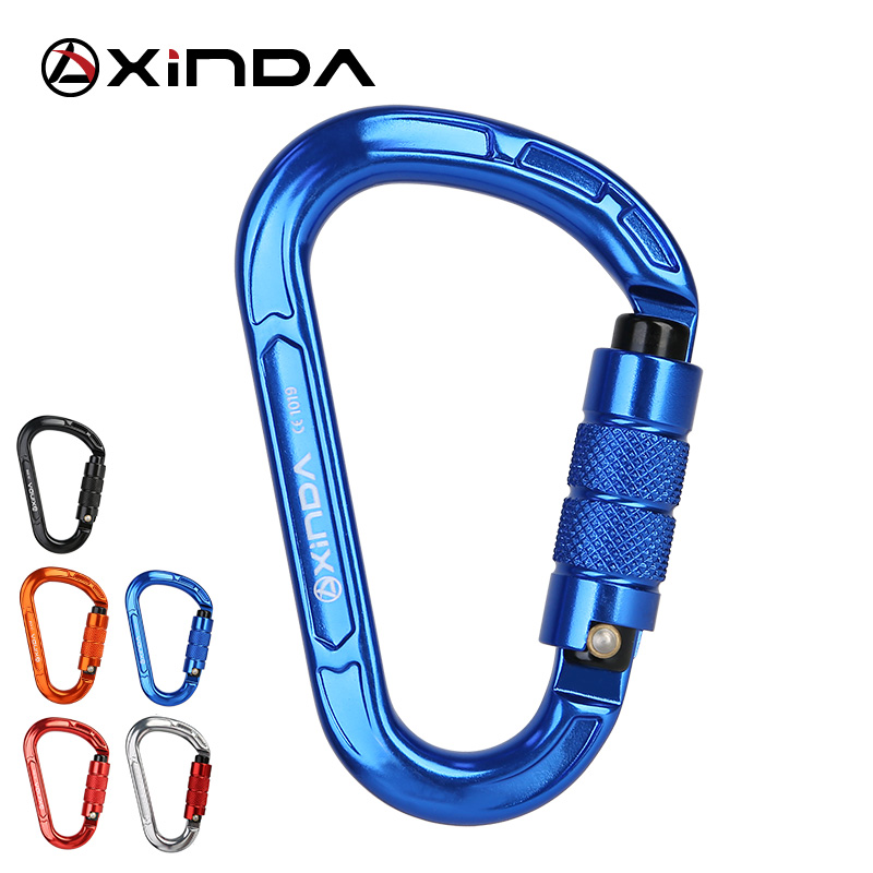 XINDA Rock Climbing Carabiner Pear-Shape Buckle 25KN Safety Auto Lock Spring-loaded Gate Aluminum H-Carabiner Outdoor Kits
