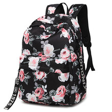 Fashion Water Resistant Nylon Women Backpack Flower Printing Female School Rucksack Girls Daily College Laptop Bagpack(China)