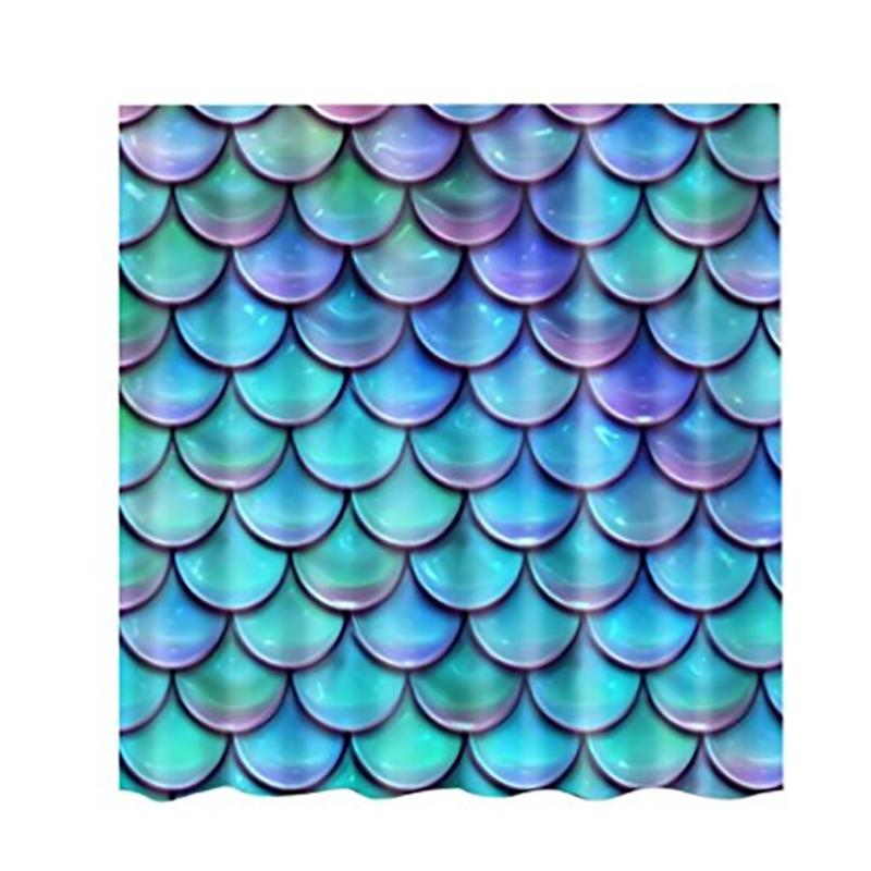 Adeeing Fish Scales Shower Curtain Mildew Waterproof Polyester Bathroom Curtains Decoration With 12 Hooks