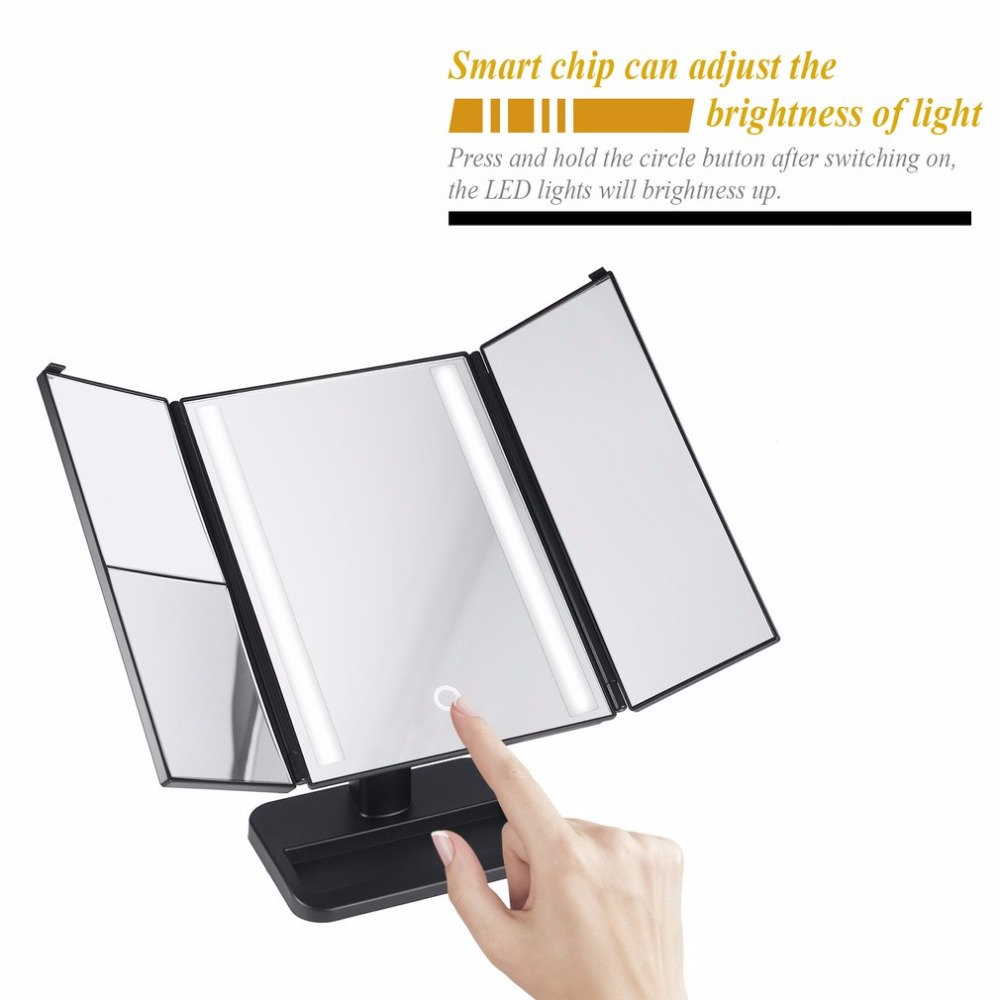LED Light 3-folding Makeup Mirror Touch Screen 1X/2X/3X Desktop Magnifying Mirror with Compact 10X Magnifier Mirror hot large 8 inch fashion high definition desktop makeup mirror 2 face metal bathroom mirror 3x magnifying round pin 360 rotating