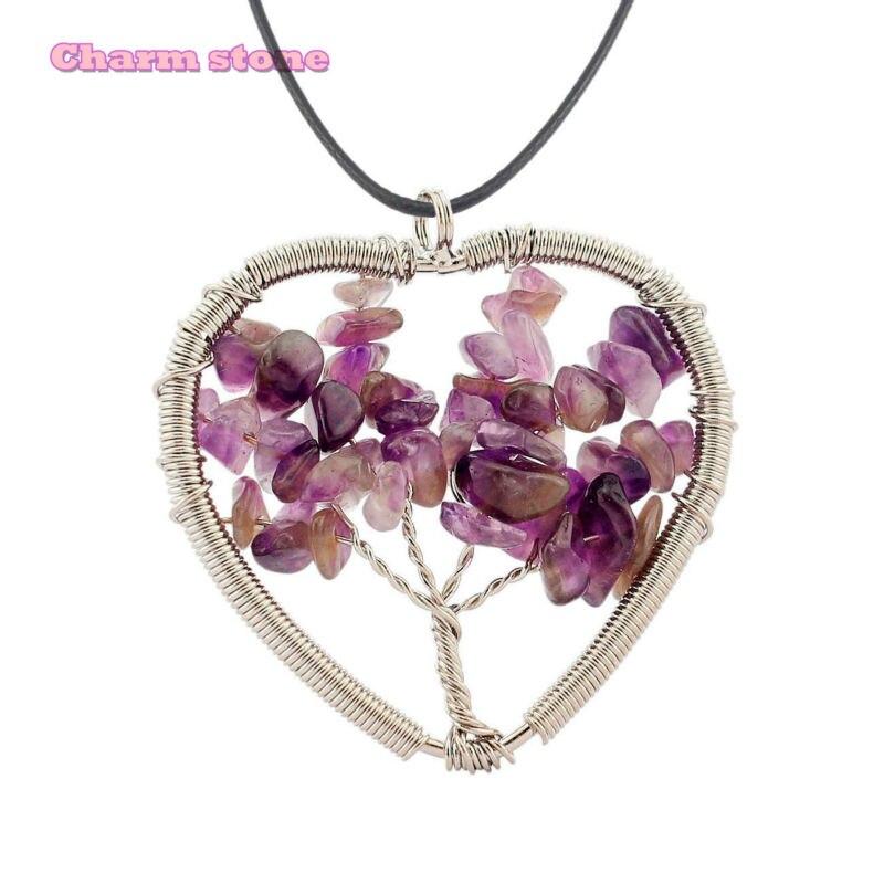 ᓂCristal natural Árbol de la vida colgante collar corazón hecho a ...