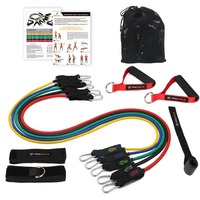 Procircle Resistance Bands 11Pcs Set With 5 Exercise Tubes Band Door Anchor Foam Handles Ankle Straps