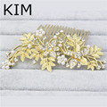 Fashion 2016 New Clear Bridal Flower Hair Comb simulated pearl Head Piece For Wedding Bridesmaid Jewelry Party