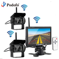 Podofo Built in Wireless Dual IR Night Vision Waterproof Rear View Back up Cameras System + 7 HD Monitor for RV Truck Trailer