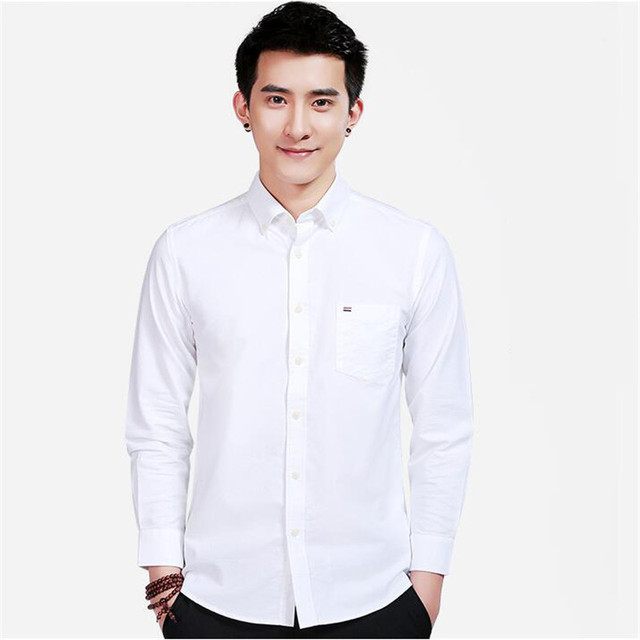 7c9faa5f84a White Oxford shirt For Men Summer Cotton Men s Wedding Shirts Street Style  Casual Tuxedo Clothes