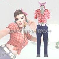 OW DVA D Va Anniversary Cruiser Rockabilly Cosplay Costume Outfit