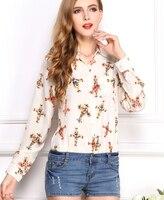 2015 Summer Style Vintage Women Blouses Blusa Feminina Long Sleeve Office Wear Lady Shirt Cross Stars