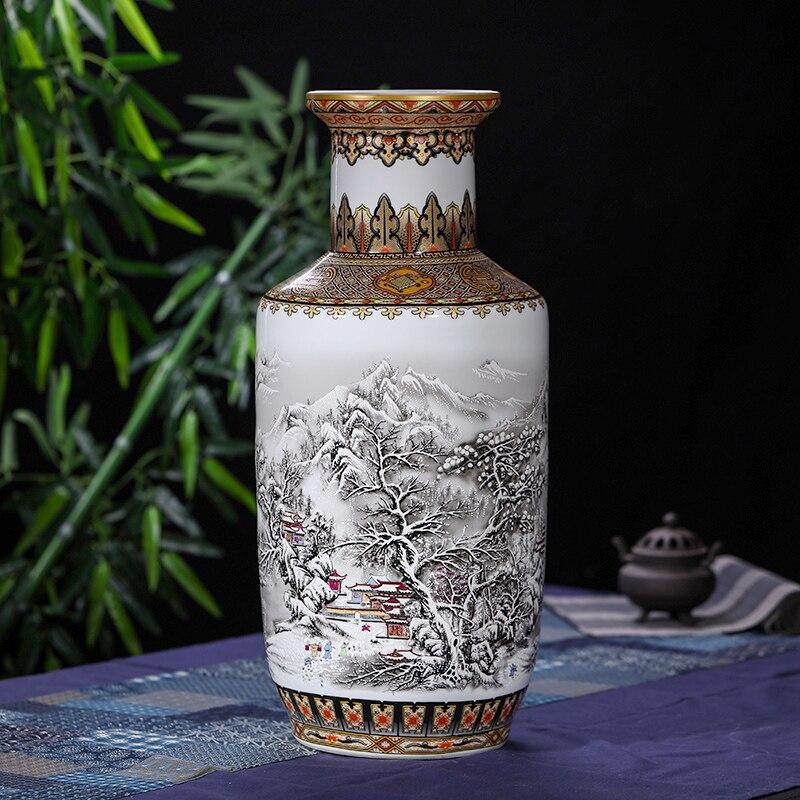 Antique Chinois Neige Étage Vase Jingdezhen Main D'or Dessin kangxi porcelaine Grand Plancher Vase Pour La Décoration Intérieure