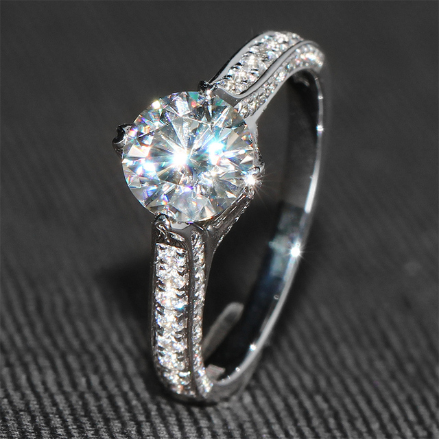1 Carat ct G Color Engagement Wedding Lab Grown Moissanite Diamond Ring With Real Diamond Solid 14K 585 White Gold For Women