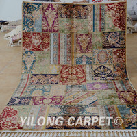 Yilong 5.5'x8' Handmade carpet patchwork hand knotted persian area rug (1665)