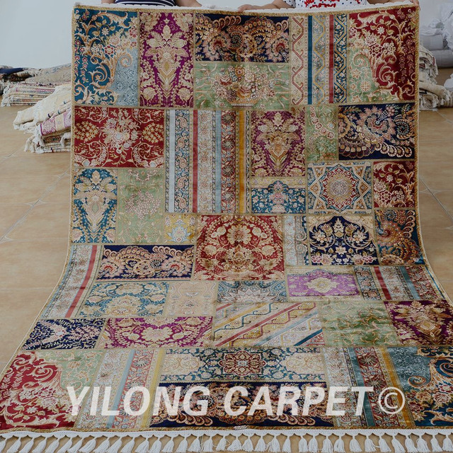 Yilong 5 X8 Handmade Carpet Patchwork Hand Knotted Persian Area Rug