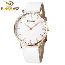 MS binssaw 2017 nuevo ultra-delgado reloj de cuarzo marca de lujo delicado contratado mujeres de negocios reloj de pulsera de regalo de cuero de color más