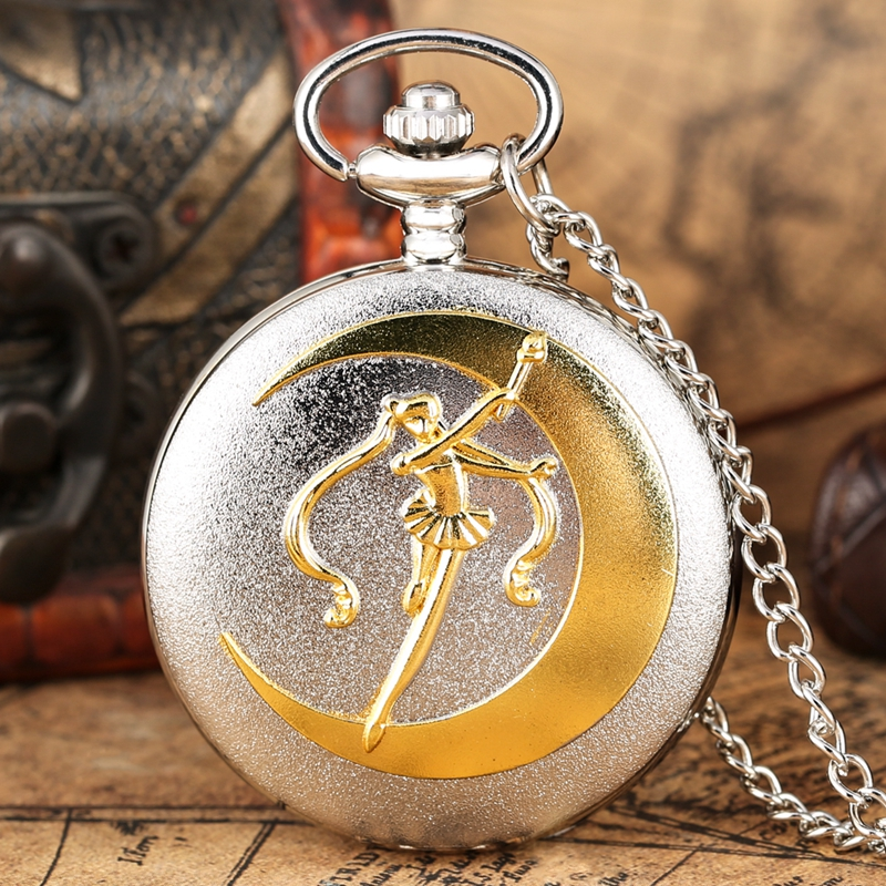 New Fashion Silver Grand Quartz Pocket Watch Luxury Golden Sailor Moon Necklace Pendant Chain Floral Rattan Pocket Watch Gifts