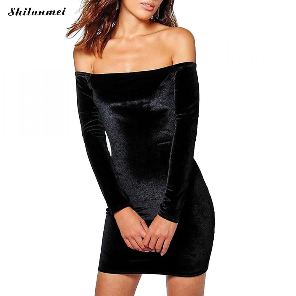<font><b>Sexy</b></font> <font><b>Off</b></font> <font><b>Shoulder</b></font> Black Sheath Velvet Dress Women Autumn <font><b>Party</b></font> Long Sleeve <font><b>2018</b></font> <font><b>Elegant</b></font> Pencil <font><b>Bodycon</b></font> Ladies Dress Vestidos Xl image
