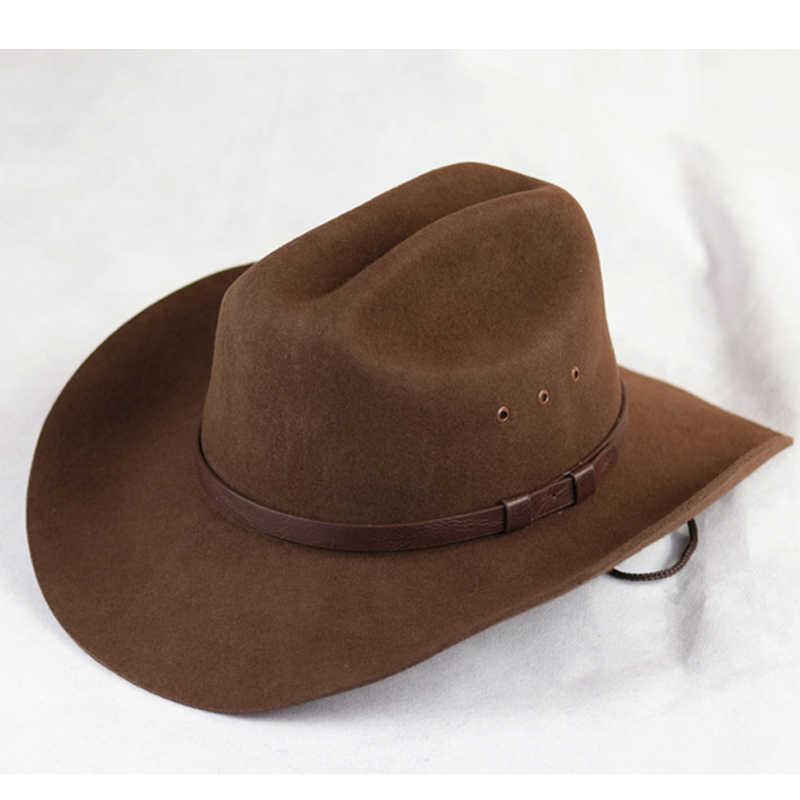 ASO-SLING Wool Felt Wide Brim Western Cowboy Hat Outback Fedora Hat with Leopard Grain Belt Buckle