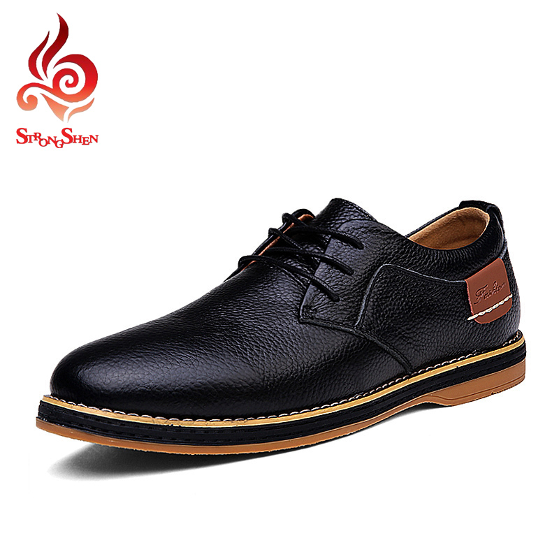 ФОТО Shoes Men Oxfords 2017 Fashion Style Men Casual Shoes Spring / Winter Shoes Business Leather Shoes For Man Lace-up Flats Dating
