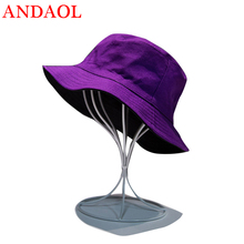 ANDAOL Womens Casual Cap Hight Quaility Cotton Solid Folding Double Sided Sun Hat Fashion Marvel Outdoor Travel Bucket Hats