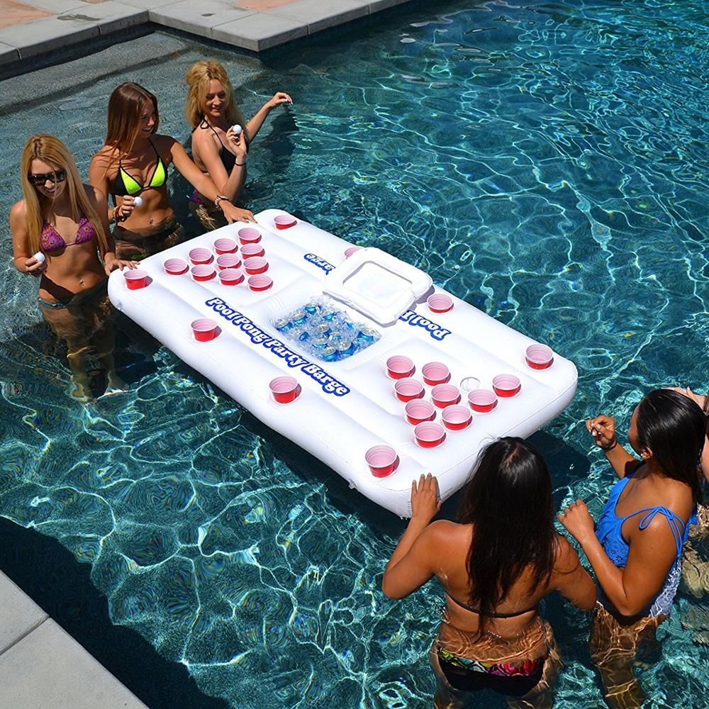 Beer Pong Pool Mat 28 Cup Hole Floating Row Inflatable Pool Mattress Water Table Tennis Entertainment Floating Pad Adults Party