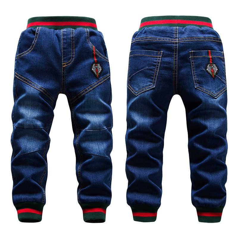 Зимние джинсы для взрослых мальчиков брюки 2-14Yrs дети Утолщенная шерсть брюки Повседневное Ручная стирка голубой джинс деним бархат верхняя одежда утепленные штаны