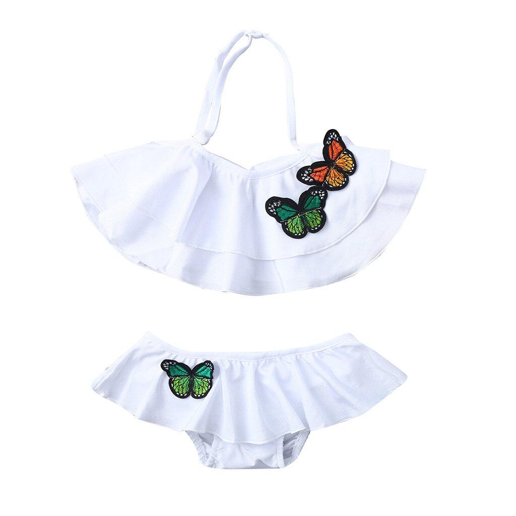 Swimwear For Girls Kid Kids Toddler Baby Girls Ruffled Dot Cross Back Bikini Beach Separate Swimsuit Bathing Swimwear D300221 Swimwear