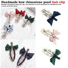 Handmade bow rhinestone pearl hairpin sweet bangs clip cutey hair accessories