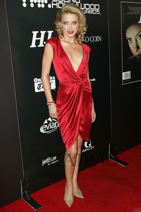 ce 01new arrival fashion v neck cap sleeve Amber Heard red ...