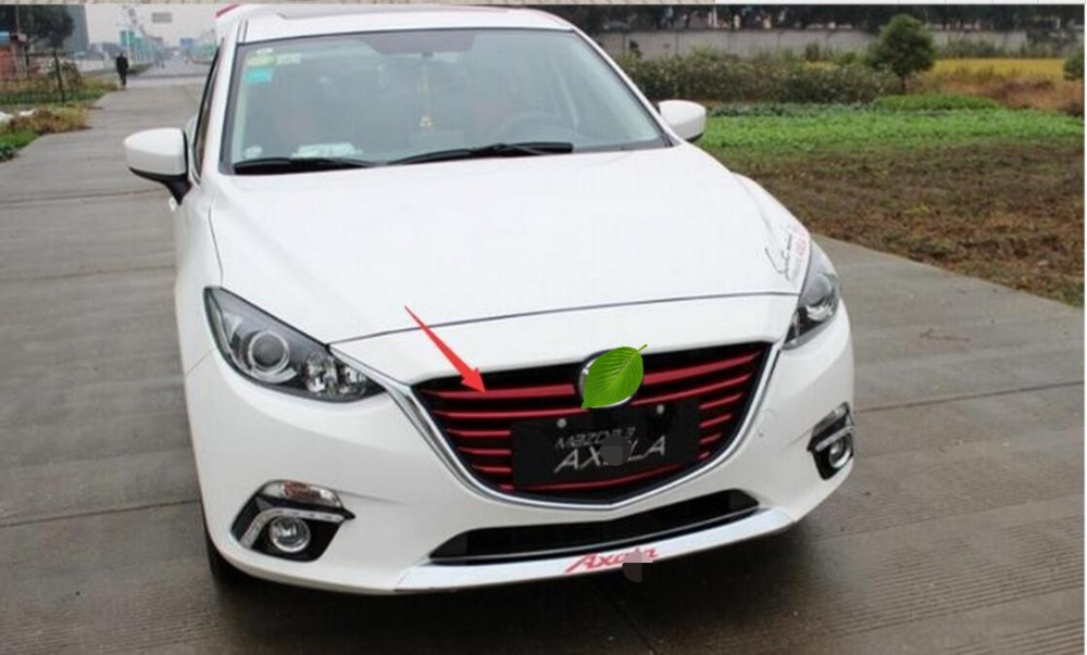 Car front grille trim auto grille decoration cover for Mazda 3 AXELA 2014 2015 2016,ABS chrome 11pcs chrome front bottom grill grid grille cover trim for mazda 3 axela m3 2014 2016