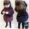 Girls winter down Bow thick long sleeved parkas Fashion Winter girls Thickening long cotton jacket Casual kids jacket outerwear