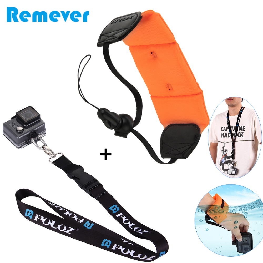 1PCS Buoyancy Wrist Strap 1PCS Shoulder Neck Strap for Gopro Hero 3 4 4 Session 5 6 For Sjcam Xiaoyi Action Cameras in Sports Camcorder Cases from Consumer Electronics