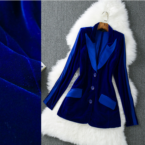 2019 Autumn Winter Original Single European American Women Brand Velvet Gun Collar Repair Women Jacket Women Fashion Blue Suit