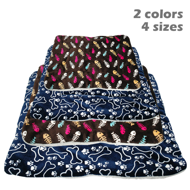 Winter Dog Bed Mat Pet Cushion Blanket Warm Paw Print Puppy Cat Fleece Beds For Small Large Dogs Cats Pad Chihuahua Cama Perro 1