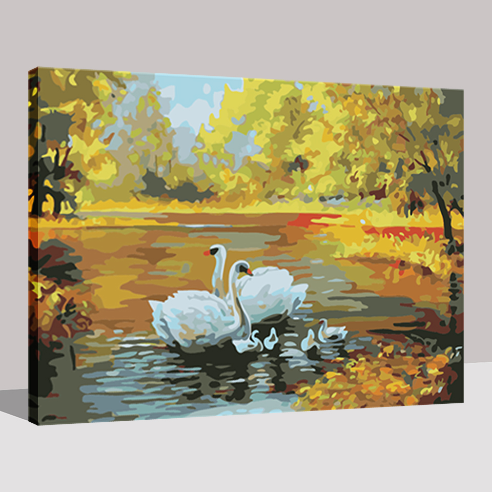 By Numbers Hand Diy Oil Paint Drawing Painting Coloring Swan Lakes