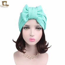New women luxury bowTurban Hat Stylish Chemo cap with the detachable bowknot