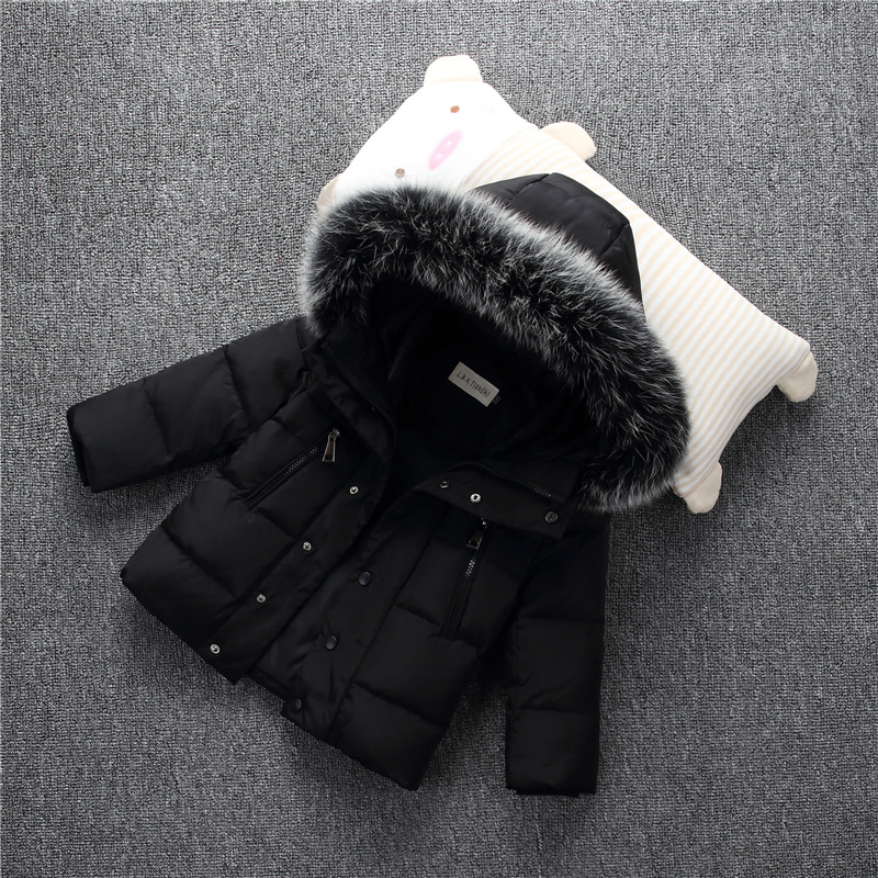 Boy fashion new down jacket Children's thick solid color down jacket Children's winter warm jacket 2018 winter new children s down jacket fashion long hooded boy thick jacket down