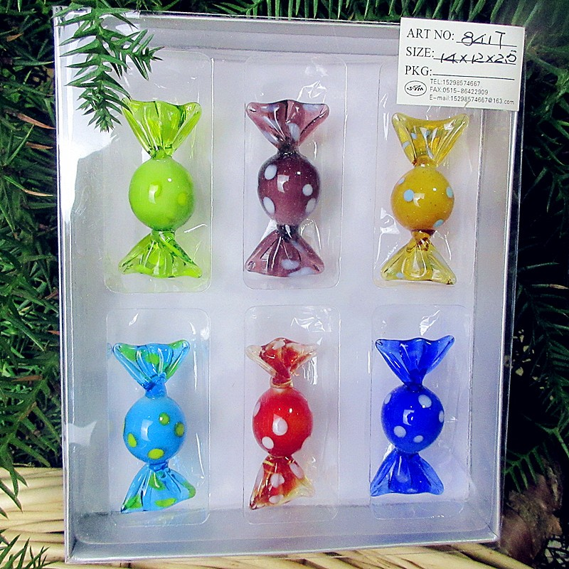 6pcs Colorful Vintage Murano Glass Sweets Wedding Party Candy Christmas Decorations hanging Kids Gift DIY Ornament Crafts in Statues Sculptures from Home Garden